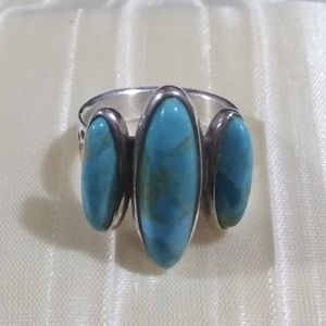 Jay King DTR Mine Finds 3 stone turquoise ring